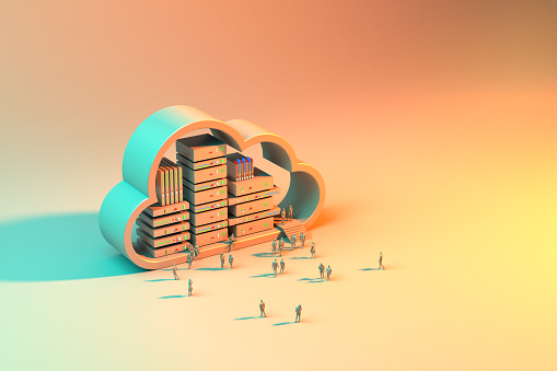 Cloud Servers Background Concept. Crowd of people standing near large cloud server. 3D render