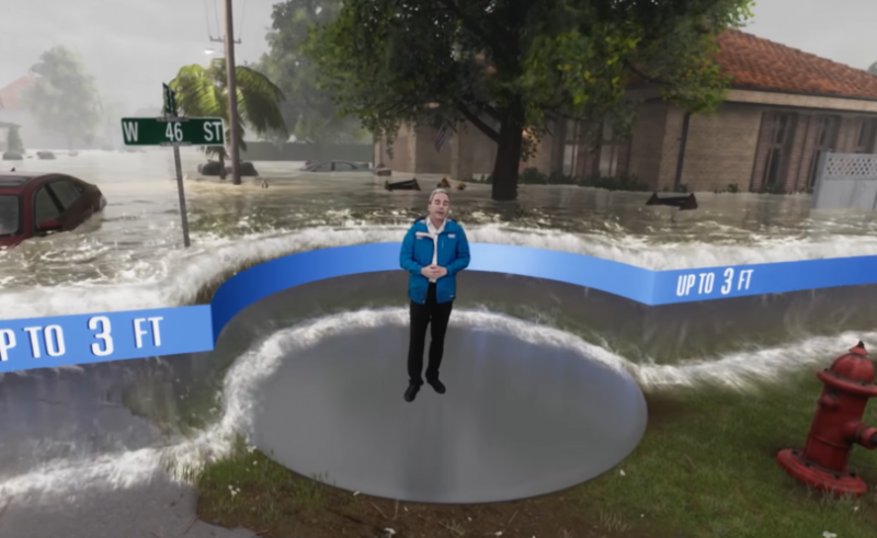 La chaîne météo américaine utilise la réalité mixte pour expliquer les dangers de l'ouragan Florence sur la côte Est des Etats-Unis  - 2