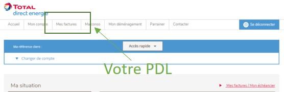 Trouver son PDL Total Direct Energie sur son espace client