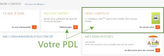 Le PDL dans l'espace client EDF