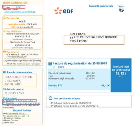 Exemple de Facture électricité EDF