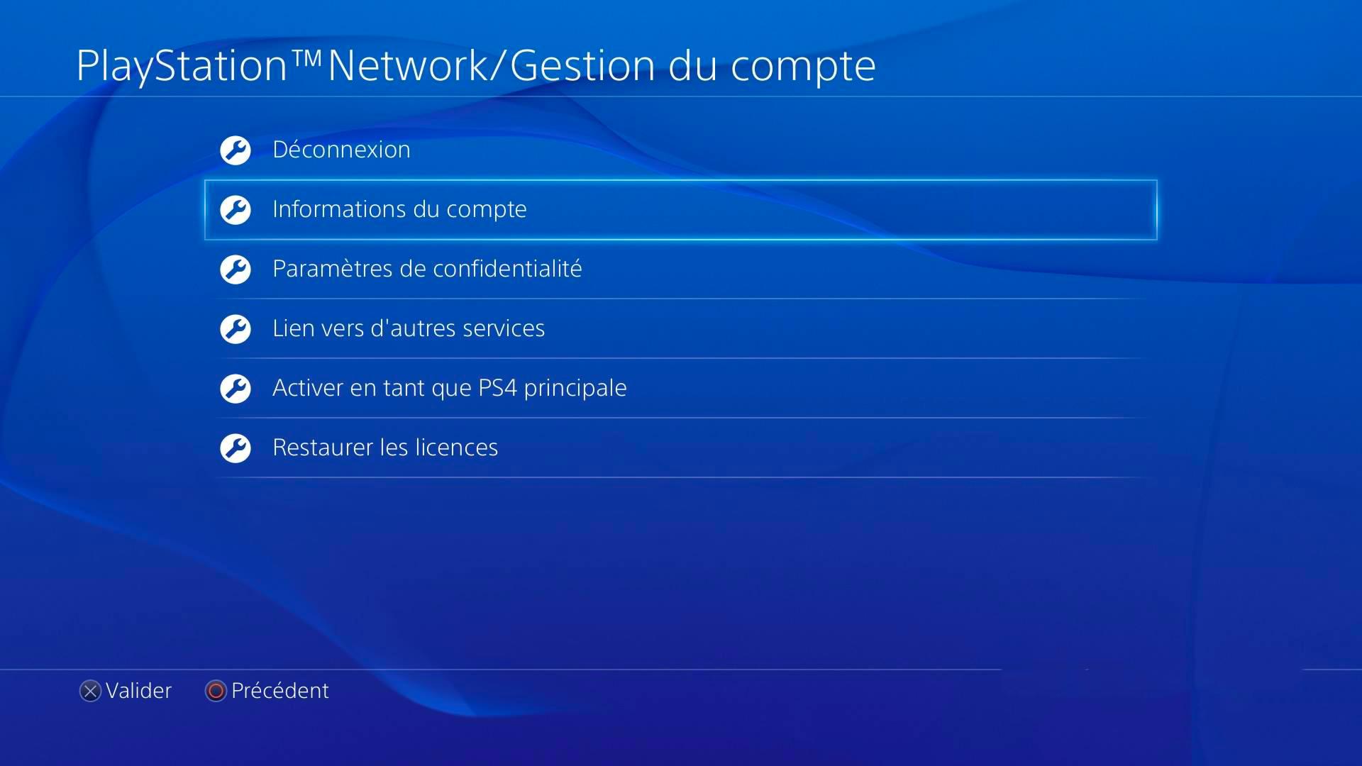 Désabonnement Playstation Plus étape 3 : Informations du compte PSN
