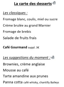 Menu du vendredi 20 septembre