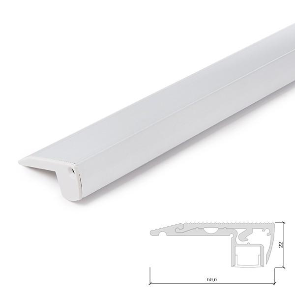 Perfíl Aluminio para Tira LED Iluminación Escaleras - Difusor...