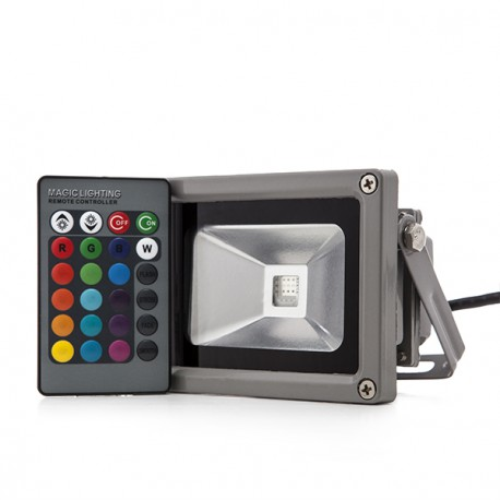 LED Floodlight IP65 10W RGB Remote Control