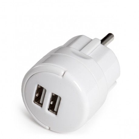 Adaptateur + 2 X Usb Chargeur IP20 Blanc