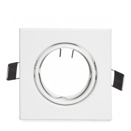 Aro Downlight Basculante Cuadrado Aluminio Color Blanco 83/83mm
