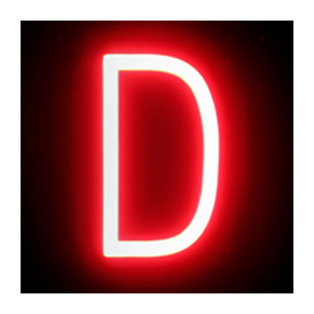 "Letra LED Neon ""D"" Ancho 100mm Alto 161mm Fondo 38mm"