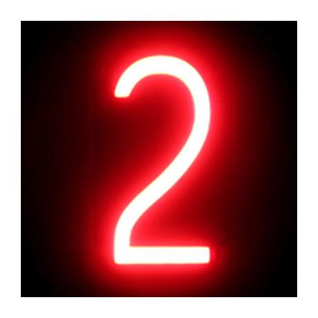 "Número LED Neon ""2"" Ancho 84mm Alto 161mm Fondo 38mm"