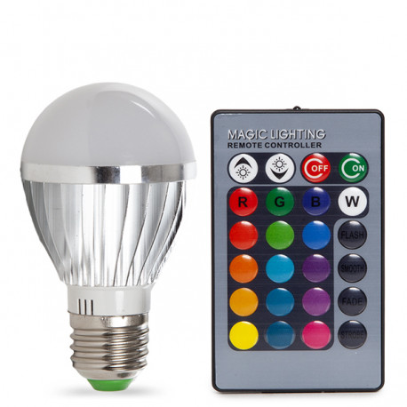 E27 RGB LED Bulb 3W with Remote Control