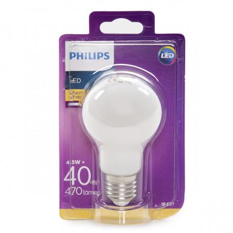 Bombilla LED Philips E27 A60 4,5W 470Lm Blanco Cálido
