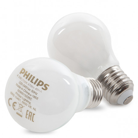 Bombilla LED Philips E27 A60 4,5W 470Lm Blanco Cálido (2 Unidades)