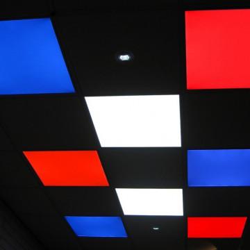LED Slimline Downlights Taisnstūrveida RGB 295X295Mm 16W 24VDC Draiveri/Kontrolieris Centrālāizēta