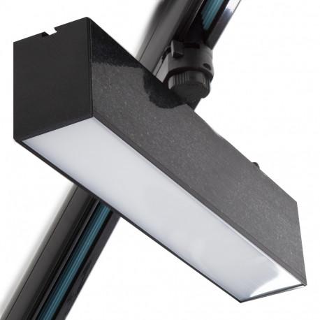 Foco Carril LED Lineal Trifásico 12W Negro CCT Ajustable