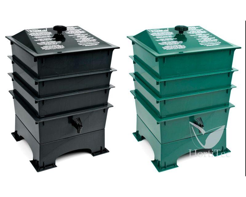 vermicompostero verde y negro