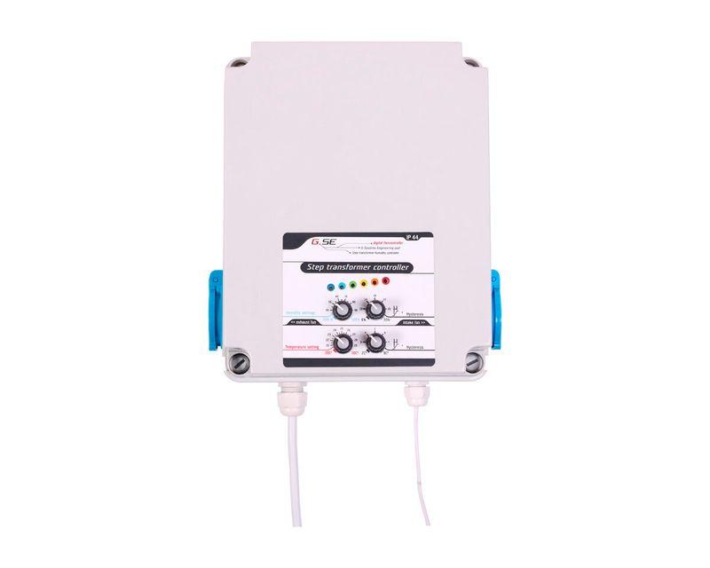 Controlador de temperatura y humedad con transformador (8a) 2 pasos/2 fan