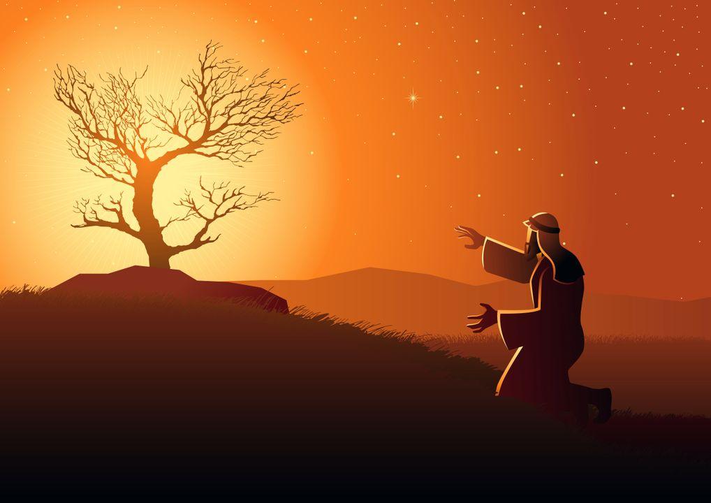 Het verhaal van Mozes en de brandende struik