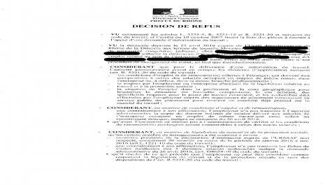 DIRECCTE : contester un refus d'une autorisation de travail
