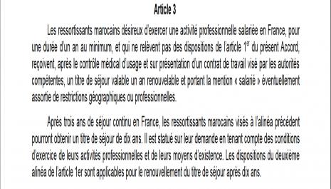 Ressortissant marocain : titre de séjour salarié prévu à l'article 3 de l'accord franco-marocain
