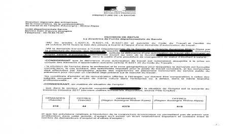 Refus d'autorisation de travail : la décision de la DIRECCTE