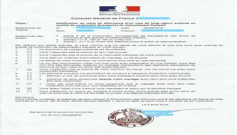 Le refus de visa conjoint de français : les motifs