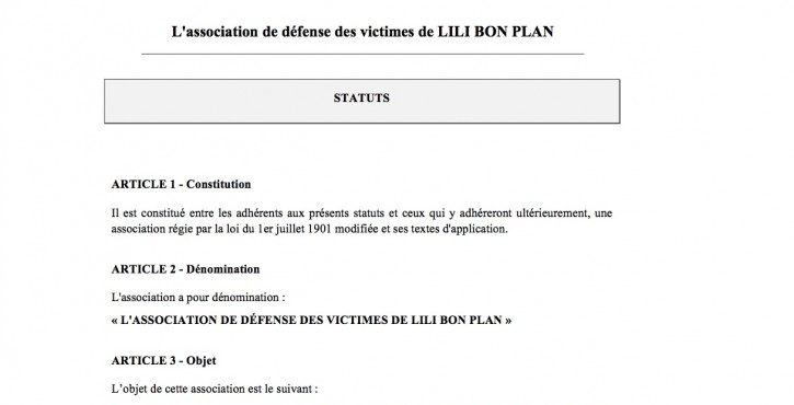 """CRÉATION DE """"L'ASSOCIATION DES VICTIMES DE LILI BON PLAN"""""""