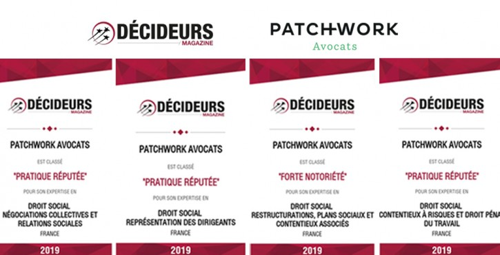 Patchwork Avocats au classement Décideurs 2019