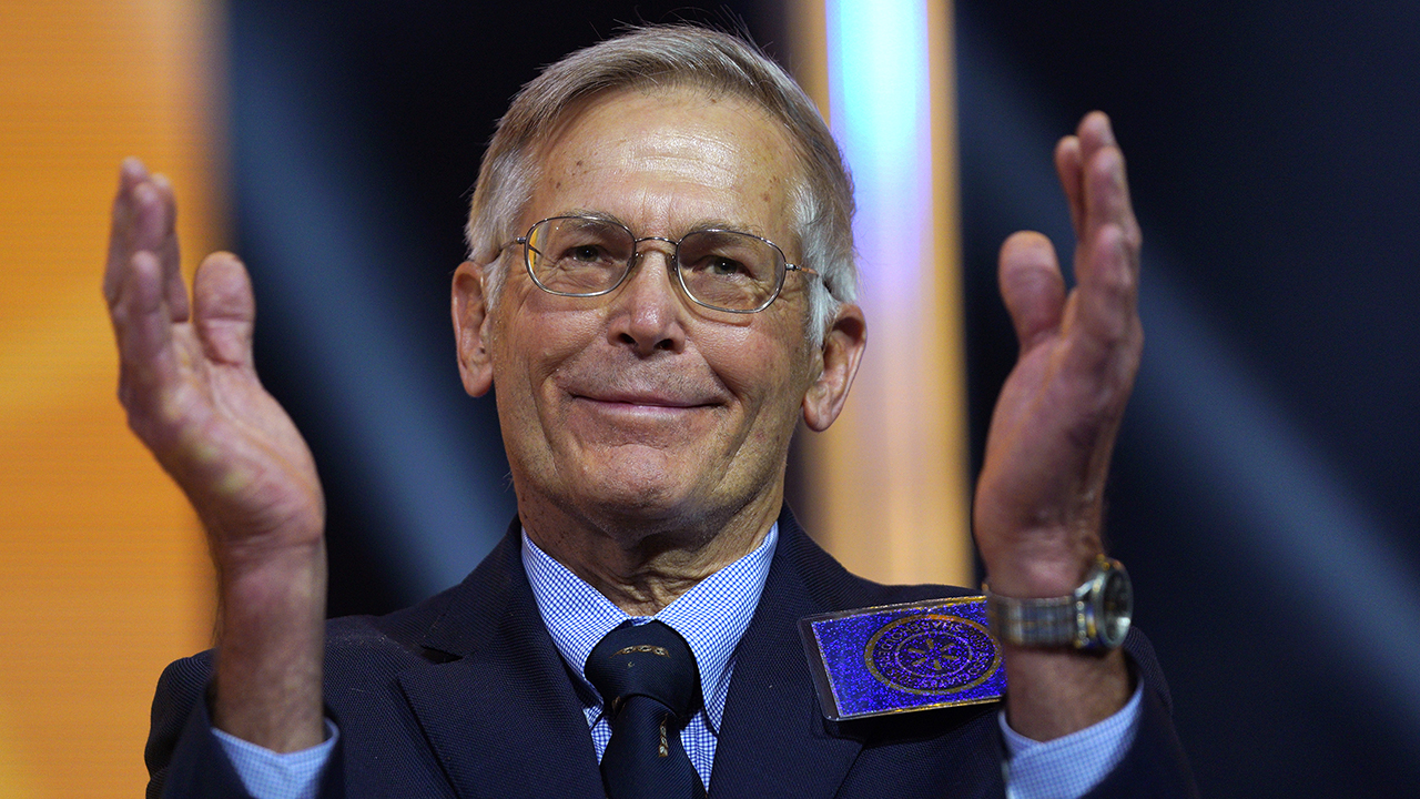 FAYETTEVILLE, AR - JUNE 1: Jim Walton claps at the Walmart shareholders meeting event on June 1, 2018 in Fayetteville, Arkansas. The shareholders week brings thousands of shareholders and associates from around the world to meet at the company's  global headquarters. (Photo by Rick T. Wilking/Getty Images)