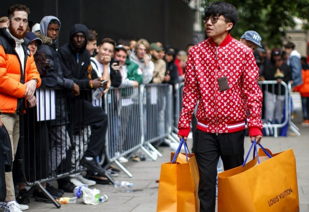 Supreme X Louis Vuitton queue in London