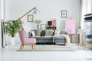 Designer's lamp in living room
