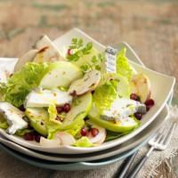 Salade de chèvre, foie gras et pommes