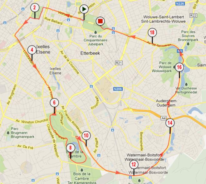 Parcours 20 kilomètres de Bruxelles