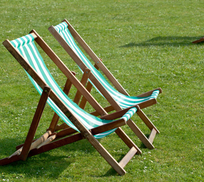 Lawnchairs in the Brussels parks