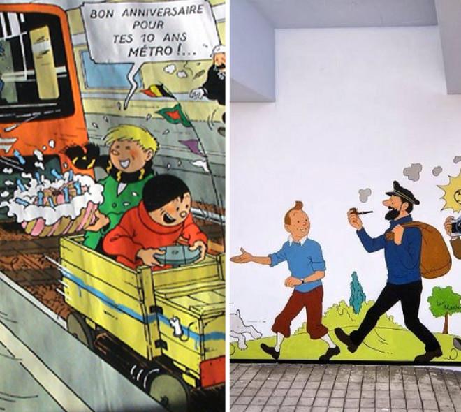 Les personnages d'Hergé et le métro