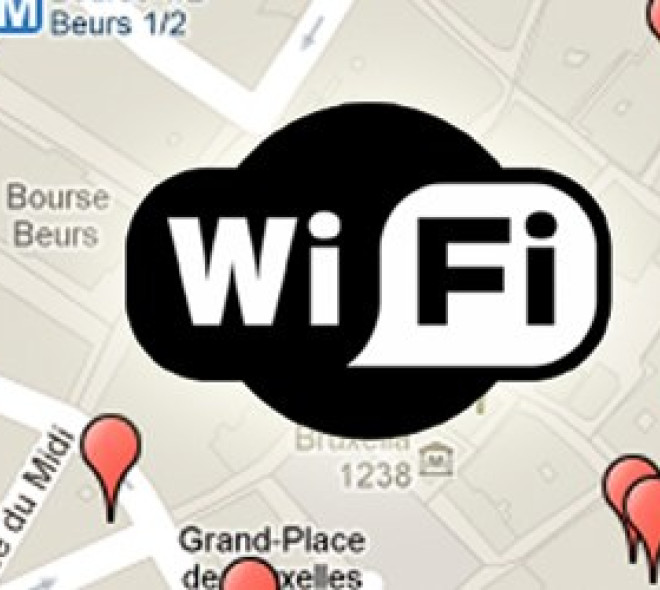 A map of the free wifi areas of Brussels city