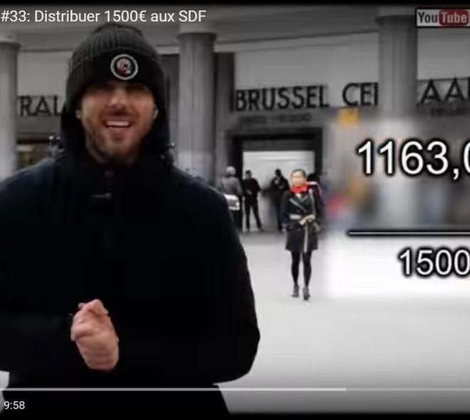 Un youtuber distribue 1500€ aux SDF de Bruxelles