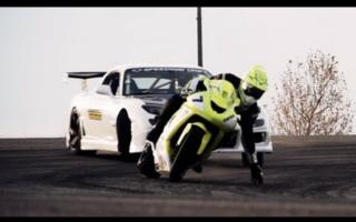 War of drifting: car VS motorbike