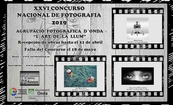 """CONCURSO NACIONAL DE FOTOGRAFÍA 2019 """"L'ART DE LA LLUM"""""""