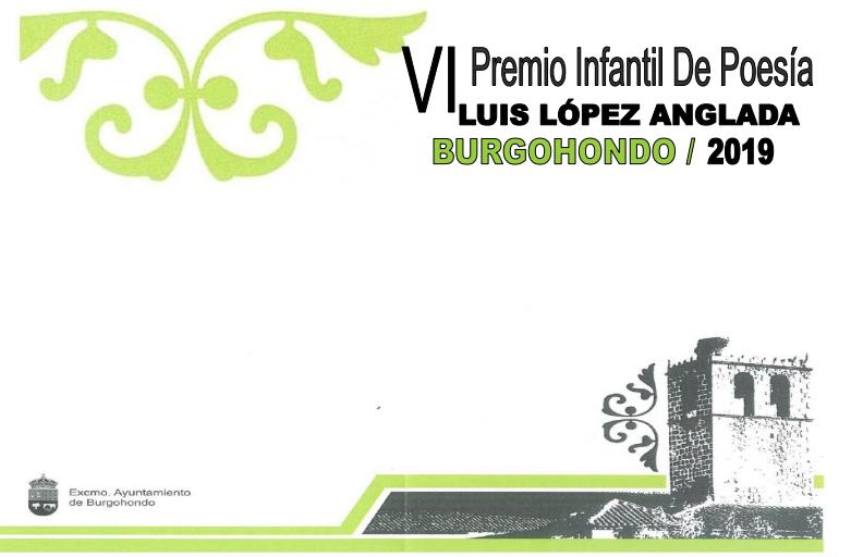 """VI PREMIO DE POESIA INFANTIL """"LUIS LÓPEZ ANGLADA"""" BURGOHONDO 2019"""