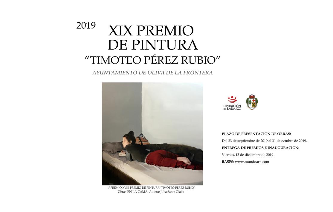 """XIX PREMIO DE PINTURA""""TIMOTEO PÉREZ RUBIO""""OLIVA DE LA FRONTERA 2019"""