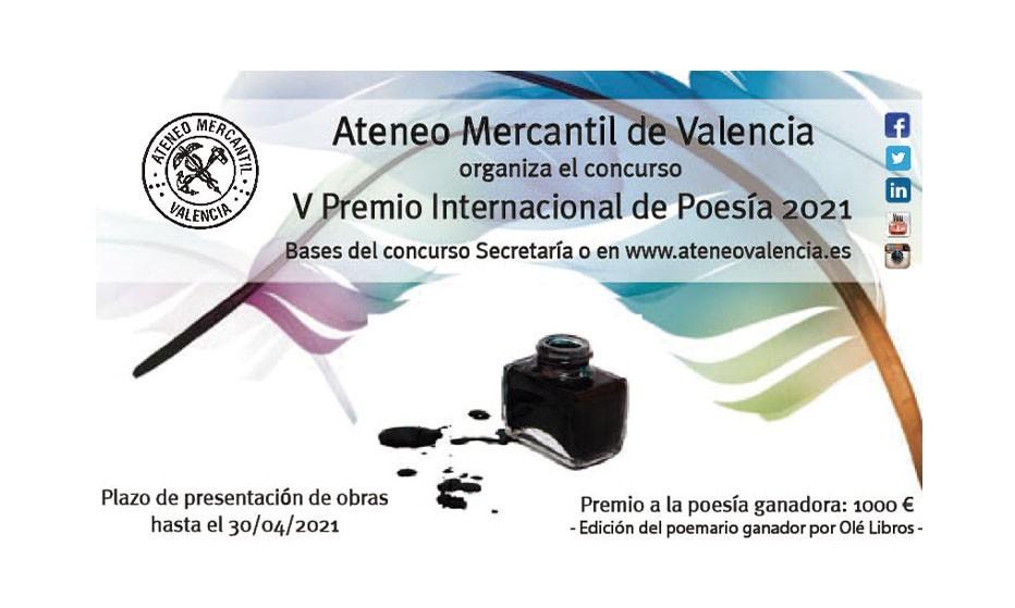 """V Premio de Poesía """"Ateneo Mercantil de Valencia 2021"""""""