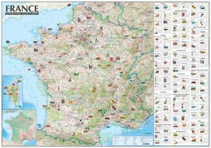 Carte murale de France : attractions touristiques (sans barres)