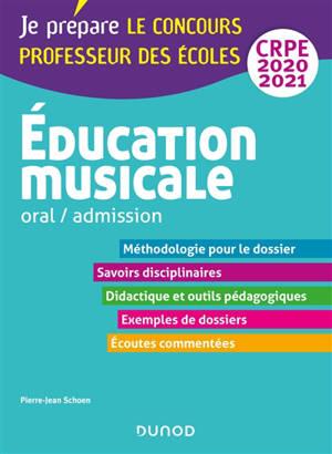 Education musicale : oral, admission, CRPE 2020-2021