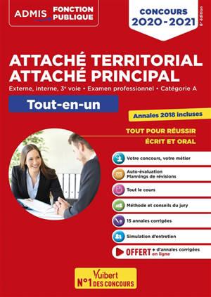 Attaché territorial, attaché principal : externe, interne, 3e voie, examen professionnel, catégorie A : tout-en-un, concours 2020-2021