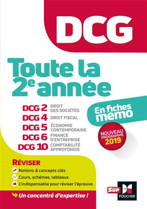 DCG, toute la 2e année : en fiches mémo : nouveau progamme 2019