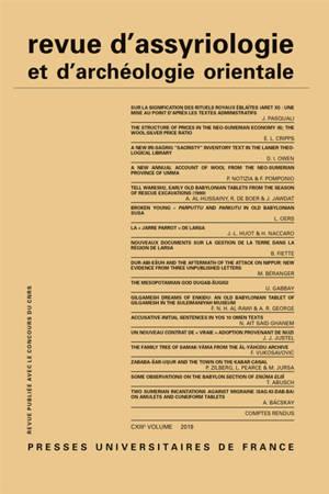 Revue d'assyriologie et d'archéologie orientale. n° 113