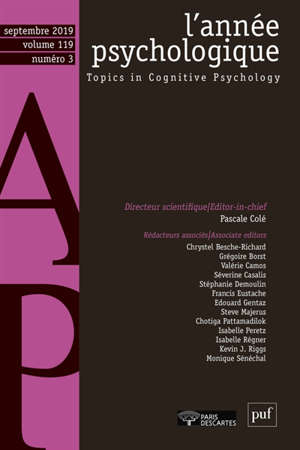 Année psychologique (L'). n° 3 (2019)