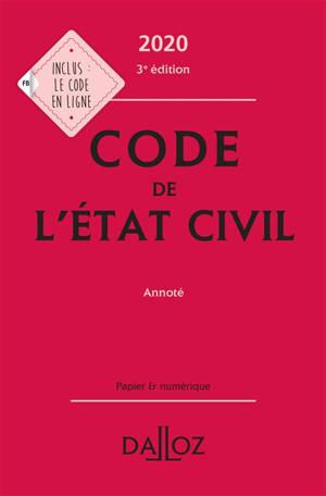 Code de l'état civil 2020 : annoté