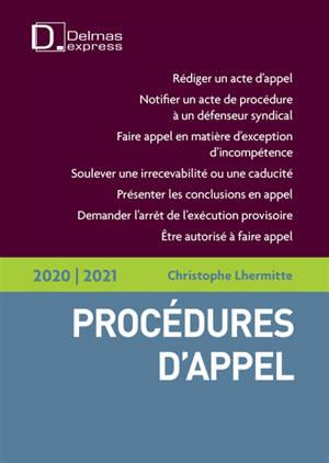 Procédures d'appel 2020-2021