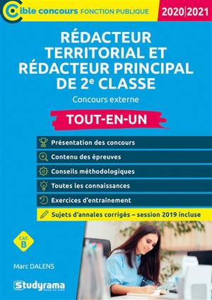 Rédacteur territorial et rédacteur principal de 2e classe : concours externe, cat. B : tout-en-un, 2020-2021